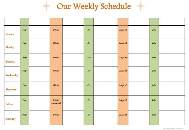 Weekly schedule Sunday