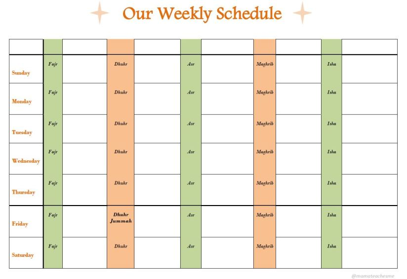 Weekly schedule Sunday